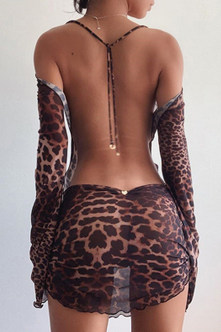 Erma brown-leopard Open Back Dress