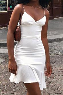 Buena Ella White Flounce Hem Slip Dress