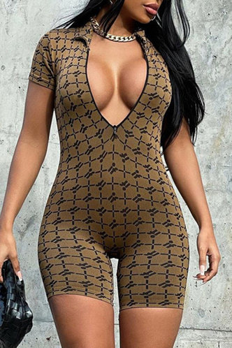 front_All over print Brown Rompers