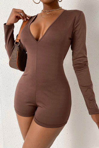 back_Round Neck Brown Rompers