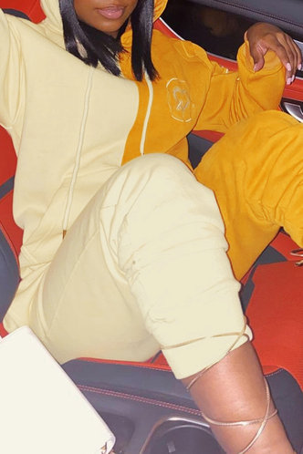 front_Pullover Beige And Khaki Pants Sets