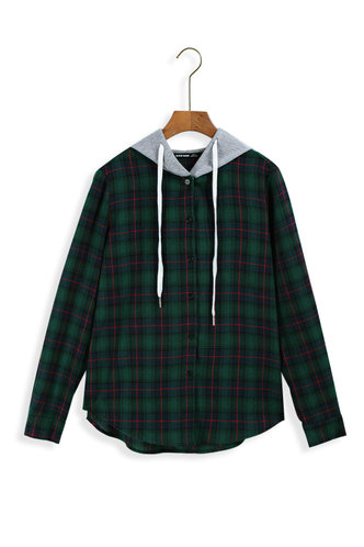 front_Hello The World Multicolor Plaid Hoodies