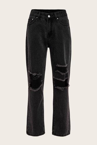 back_Mid Waist Plain   Straight Leg  Black Jeans