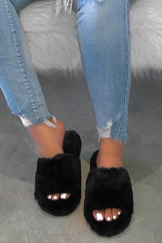 back_Flat Black Slippers