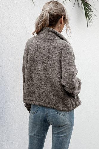 back_Collar Neck Grey Outerwear