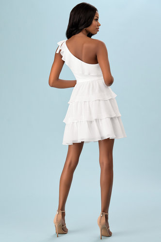 back_Smile And Wink White Mini Dress