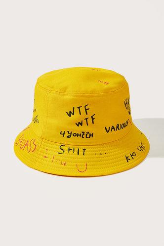 back_Jamie Eden Yellow Letter Print Bucket Hat