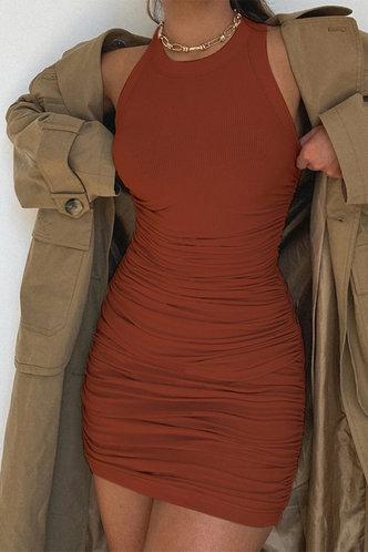 back_Carmelita Brown Ruched Dress