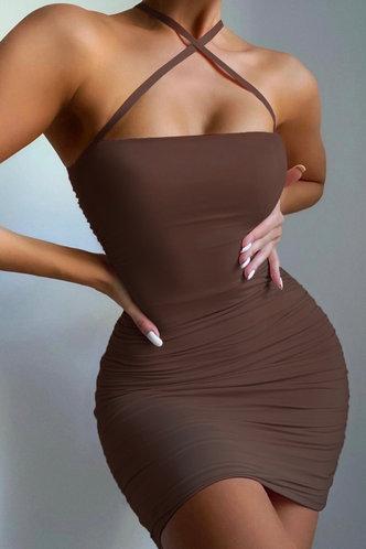 back_Hermosa Marum Brown Crisscross Halter Bodycon Dress