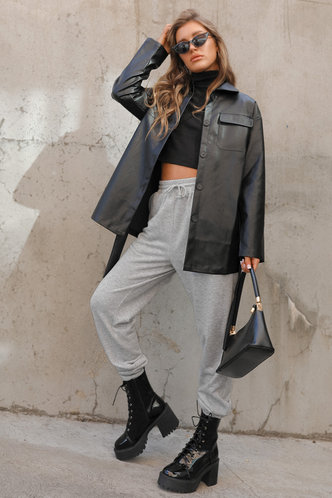 front_Old School Light Grey Marled Sweatpants