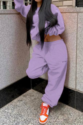 back_Plain Elastic Band Pullover Lilac Pants Sets