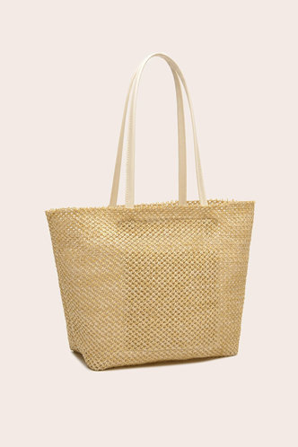 back_Solid Color Hollow Out Straw Beige Tote Bags