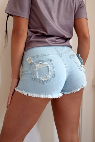 back_Katherine Erica Wash Light Blue Denim Shorts