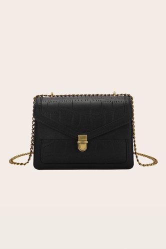 front_Casual Vacation Plain Metallic Button Black Crossbody Bags