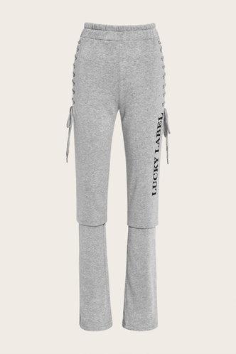 back_Letter Bandage Sweatpants Light Grey Pants