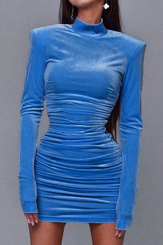 front_Diamond Elaine Blue Velvet Ruched Dress