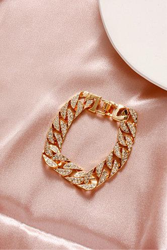 back_Gladys Gust Gold Rhinestone Charm Bracelet 1pc