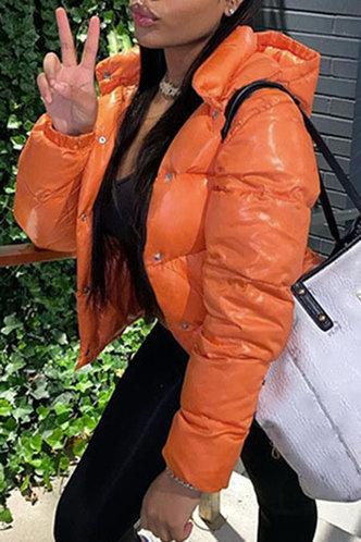 front_Chic Hoodie Plain  Orange Outerwear