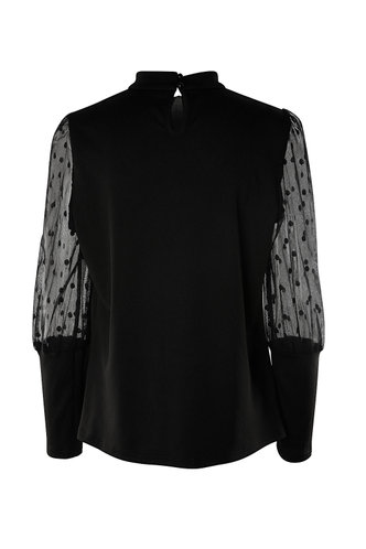 back_Afternoon Delight Black Sheer Sleeve Top