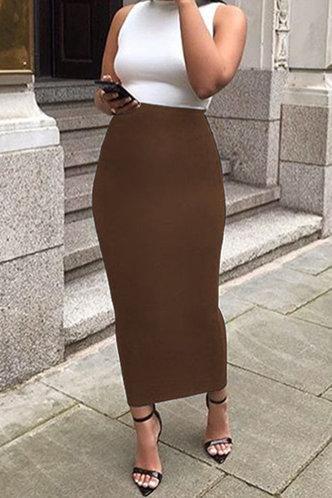 front_Alexandrina Elsie Khaki Skirt