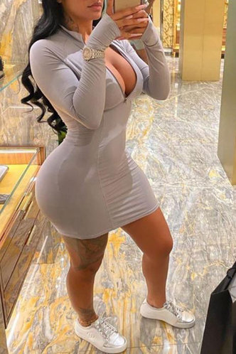front_Evangeline Edwina Light Grey Zip Up Front Dress