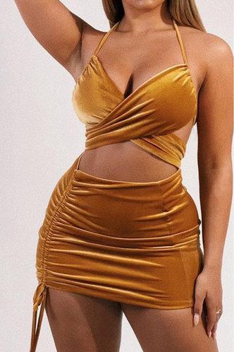 front_Joyce Elsie Brown Halter Drawstring Cutout Dress