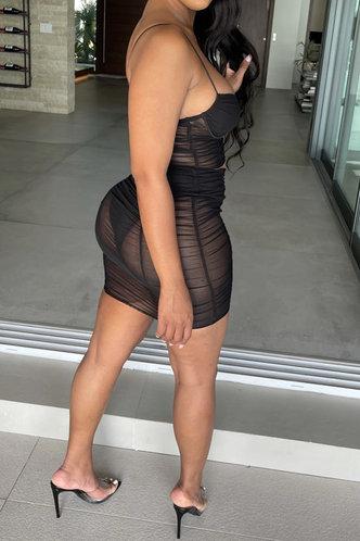 back_Sleeveless Pullover Seamed Black Skirt Sets