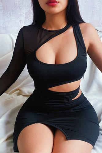 front_Bernice Laget Black Cutout Waist Split Hem Dress