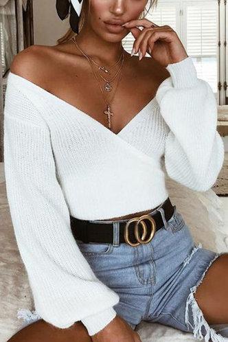 back_Lantern Sleeve White Sweaters