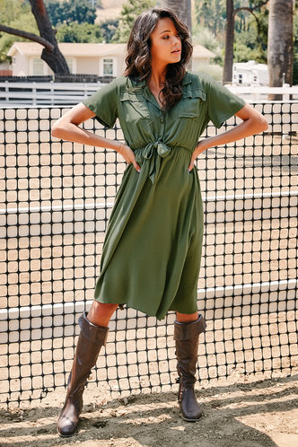 front_All My Heart Army Green Midi Dress