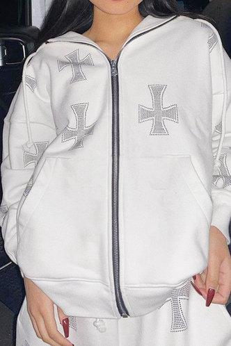 front_Sporty Lapel Neck Plain White Outerwear