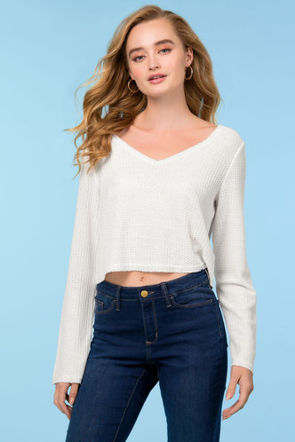 front_Loose Love White Crop Top
