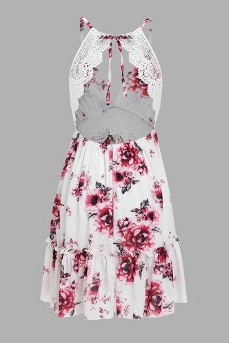 back_Babs Edwina White Floral Print Dress