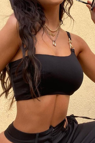 front_Emma Haska Black One Shoulder Crop Top