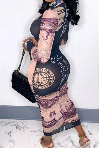 back_Delilah Evangeline Dollar Print Mesh Dress