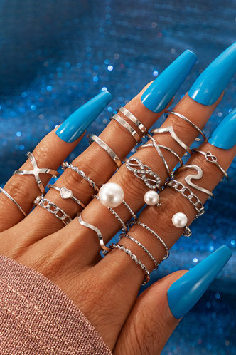front_Jeanette Elma Sliver Faux Pearls Charm Ring 18pcs