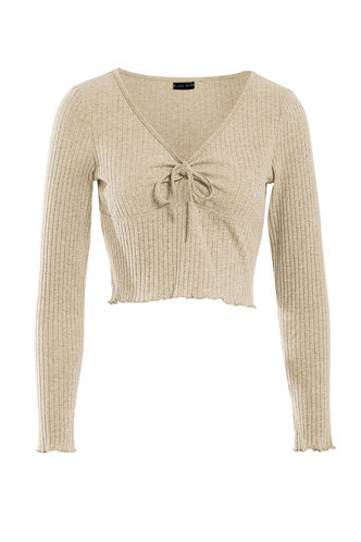 front_Still Home Apricot Ribbed Top