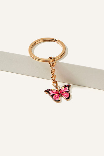 front_Crystal Elsa Pink Butterfly Butterfly Charm Keychain