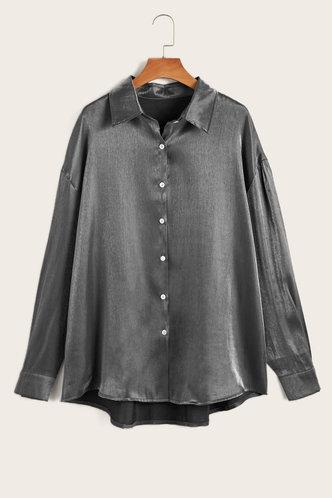 front_Collar Neck Long Sleeve Dark Grey Blouses