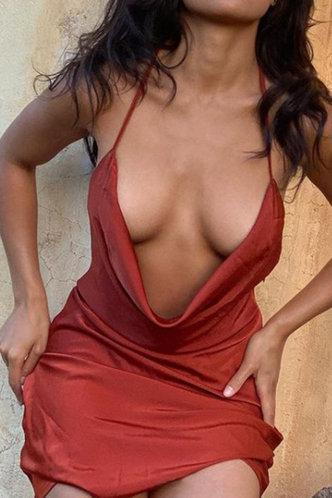 back_Bar/Nightclub Party Sleeveless Rust Red Dresses