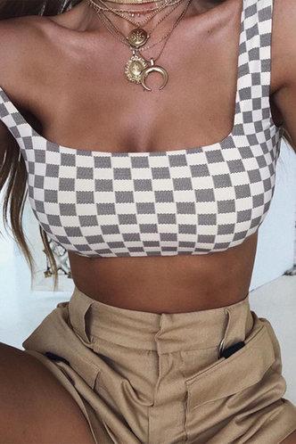 front_Kenna Edwina Grey And White Checker Crop Top