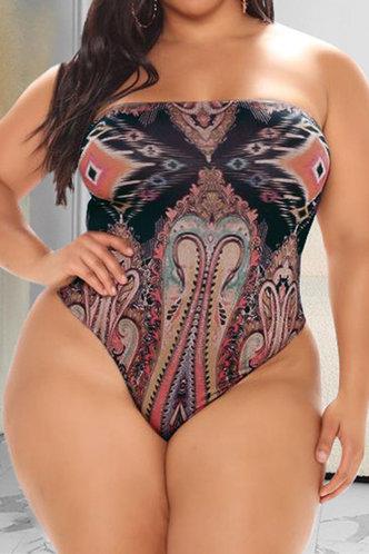 front_Hannah Kredeblo Multicolor Plus Size One-Piece Swimsuit