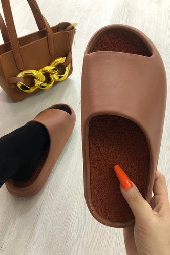 front_Ena Flugil Brown Slide & Flip Flop
