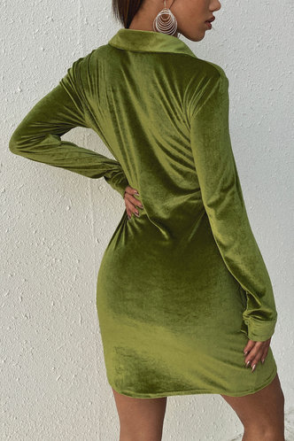 back_Elizabeth Army Green Velvet Shirt Dress