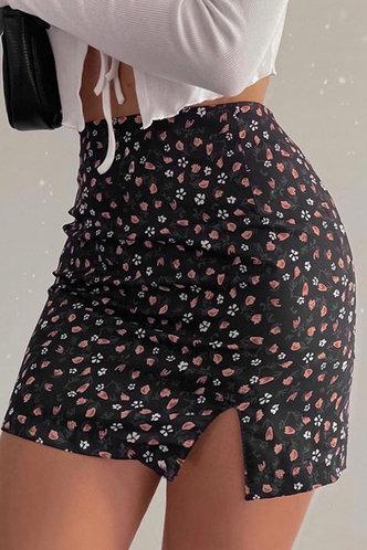 front_Rose Edith Black Floral Print Split Hem Skirt