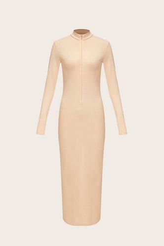 back_V Neck Regular Sleeve Nude  Dresses
