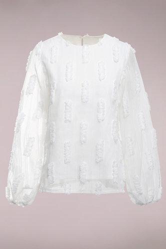 front_Get Money White Bishop Sleeve Blouse