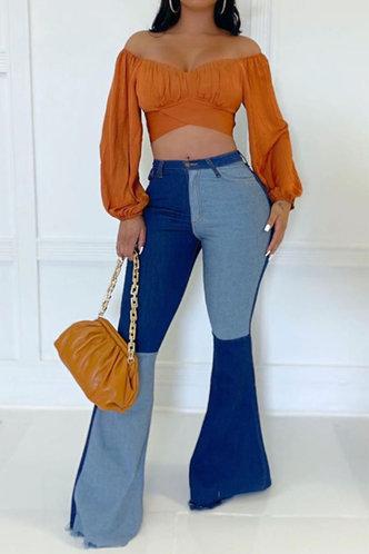 front_Lulu Enid Blue Colorblock Flare Jeans