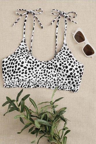 front_Scoop Neck Black Leopard Bikini Tops