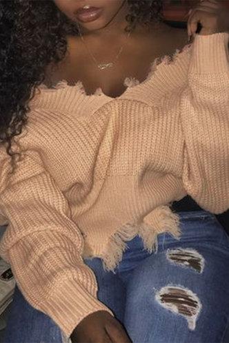 front_V Neck Dropped Shoulder Khaki Sweaters
